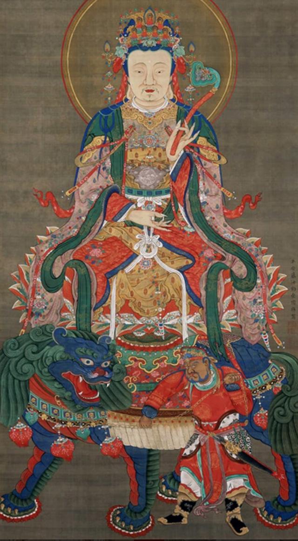 jakuchu,art,japan,museum,Sakyamuni Triad, Manjusri