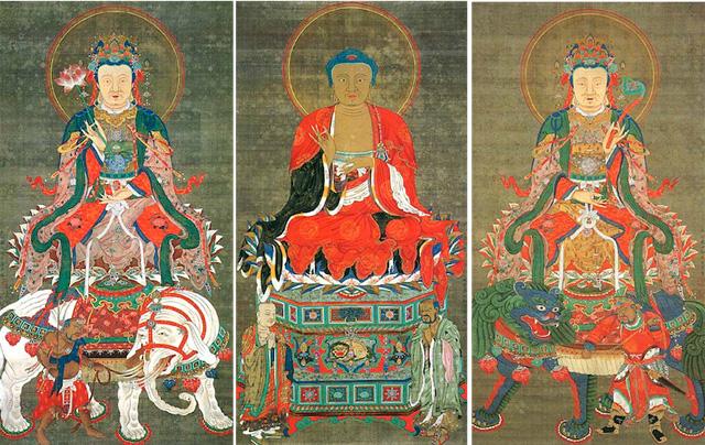 japan, art, ito jakuchu, sakyamuni triad